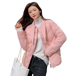 $enCountryForm.capitalKeyWord NZ - Women's Pink Single Breasted Jacket Winter 2019 New Short Cotton Parkas Winter Coat Women Slim Ladies Casual Clothing Hot Sale