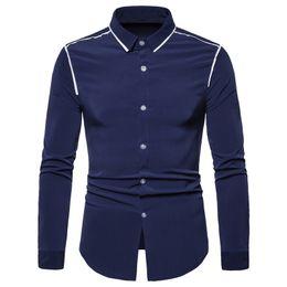 $enCountryForm.capitalKeyWord Australia - 2019 Brand Men Shirt White Black Long Sleeve Fashion Business Design Shirt Mens Slim Fit Casual Camisa Social Dress Shirts