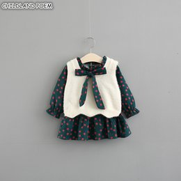 Girls Vest Knitting Australia - Baby Girls Clothes Autumn Baby Girl Dress Winter Vestido Infantil Dress +knitted Vest 2pcs Cotton Toddler Kids Dress For Girl J190506