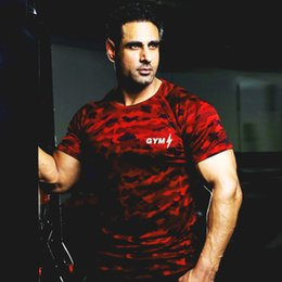Discount mma compression shorts - Camouflage Short Sleeve T-shirt Mens Running Compression Sport Shirt Men Dry Fit Breathable Rashgard Man Gym Fitness Tig