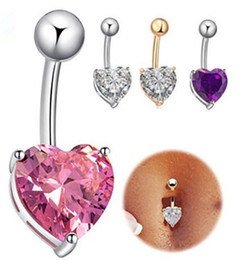 romantic tops for women 2019 - New White Gold Plated Top Quality Cubic Zirconia Heart Piercing Navel Bell Button Ring Sexy Body Jewelry For Women disco
