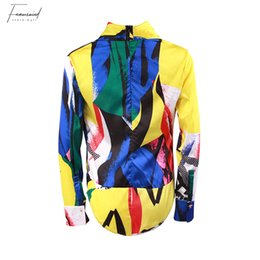 Fashion bodysuits For women online shopping - Printed Bodysuits For Women V Neck Long Sleeve Clothes Hit Colors Fashion Womens Jumpsuit Spring Fashion