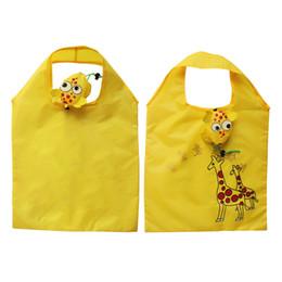 $enCountryForm.capitalKeyWord Australia - 60PCS   LOT Fold Shopping Bag Oxford Cloth Creative Animal Cartoon Giraffe Folding Eco-friendly Shopping Tote Reusable Bag