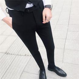 Wedding Casual Suits For Mens NZ - Formal Trousers Men Suit Pants Slim Fit Mens Dress Pants For Wedding Party Casual Solid Color Black Pantalon Costume Homme 2019