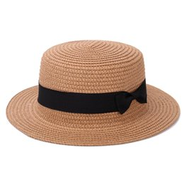 Sun Hats For Ladies Australia - Lady Boater Sun Caps Ribbon Round Flat Top Straw Beach Hat Panama Hat Summer Hats For Women Straw Snapback Gorras