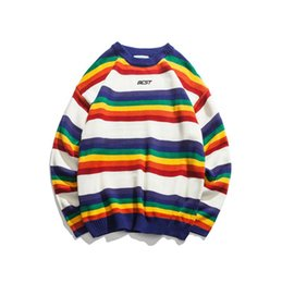 Wholesale rainbow knit sweater for sale – oversize Retro hit color o neck knit Rainbow Striped Sweater