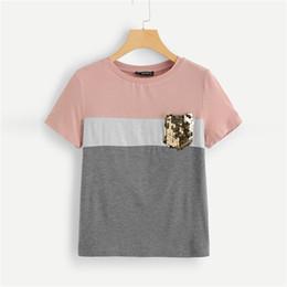$enCountryForm.capitalKeyWord Australia - Multicolor Color Block Cut And Sew Sequin Pocket T Shirt Women Short Sleeve Casual Tee Summer Workwear Top T-shirts