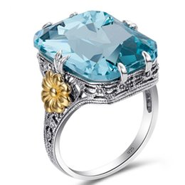 Cheap Price Square 11mm Sky Blue Green Zircon 925 Sterling Silver For Women Ring Us# Size #6 #9 M03-j1798 Novel In #7 #8 Design;