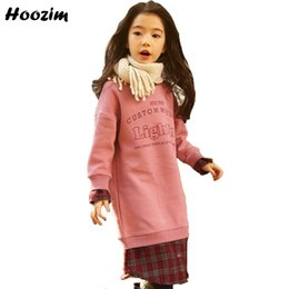 Discount teenage fashion hoodies - Winter Thick Velvet Long Sweatshirt For Girls 10 11 12 Years Fashion Letter Patchwork Hoodies Kids Beautiful Teenage Swe