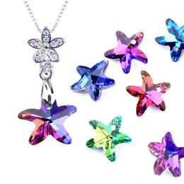 14mm Multicolor Starfish Pendentif en verre Perles cristal Charms pour les femmes Fabrication de bijoux Colliers bricolage boucle d'oreille Constats 12pcs / lot en Solde