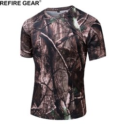 Camping T Shirts Australia - Refire Gear Outdoor Camouflage T-shirt Men Short Sleeve O Neck T Shirt Breathable Quick Dry Hunting ACU Hiking Camping Tshirt