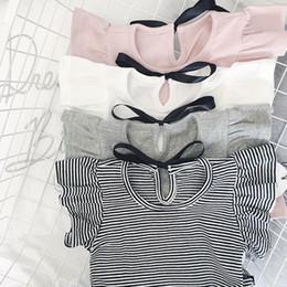 $enCountryForm.capitalKeyWord Australia - Enkelibb Toddler Girl Summer Causal T Shirt Ruffle T-shirt For Girls Lovely Baby Pink white gray striped Basic Tees Quality Tops Y19051003