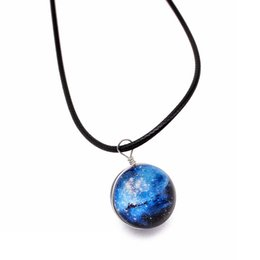Outer Space Pendant Australia - starry Outer space Universe Gemstone Pendant Necklaces Handmade double sided glass ball European and American Fashion Pendant Mix Models