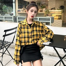 loose korean blouses Australia - Shirts Women Oversize Single Breasted Plaid Lantern Sleeve Womens Loose Trendy Retro Korean BF Shirt All-match Leisure Blouses