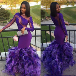 $enCountryForm.capitalKeyWord Australia - Sexy 2019 Purple African Black Girl Mermaid Prom Dresses With Long Sleeve Elegant Lace Appliques Illusion Special Party Dresses Formal Eveni