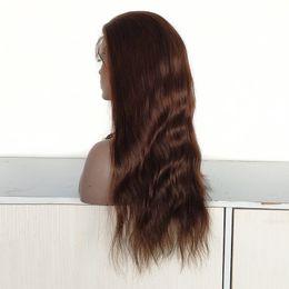 $enCountryForm.capitalKeyWord Australia - Brazilian Natural Straight Hair #3 Color Full Lace Wig Custom Make , 20 Inch Lace Front Wig 150% Density Lady Wig