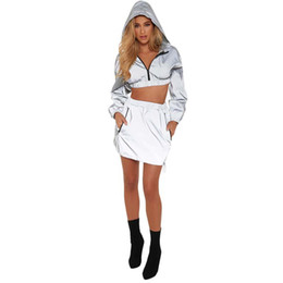 Lady dresses jackets online shopping - Womens Two Piece Sets Dresses Hooded Jackets Coats Short Tops Mini Dress Outfits Ladies Sexy Windbreaker Casual Tracksuits Dresses