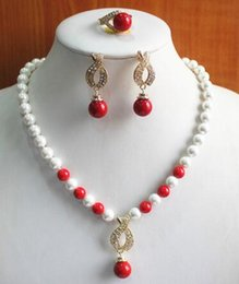 $enCountryForm.capitalKeyWord NZ - Women's Wedding engagement! Wholesale Women's 8mm white pearl mixed red coral Necklace earring 7 8 9) real silver-jewelry