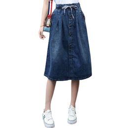 dab62b840 2017 High Waist Cotton Denim Women Long Skirt Lace-up Waist Oversize Women  Denim Skirt Plus Size 7xl Women Skirts Faldas Saias Y19043002