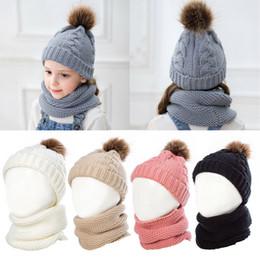 BaBy girl knitting Beret hat online shopping - 2pcs Unisex Kids Child Baby Boys Girls Beanie Hat Cap Winter Warm Pom Pom Bobble Knit Scarf
