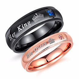 Wholesale african queen online – design Her King His Queen Couple Band Engraved Ring Titanium Steel Personality Designer Romantic Ring Men Women Engagement Wedding Trendy Jewelry