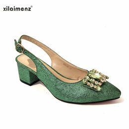 Shoes Green Color Australia - Italian Shoes and Bag Set Decorated with Rhinestone Italian Ladies Shoe and Bag New Arrival Green Color African Women Matching
