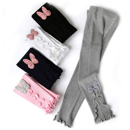 Wholesale tight laced resale online - Baby Girls Tight Trousers Colors Cartoon Lace Elastic Leggings Big Girls Bows Bunny Ear Skinny Pants Knitted Pencil Pants