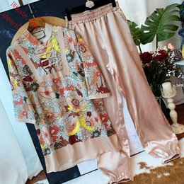 Wholesale women two piece outfits women Tracksuit print Medium long section T shirt pants Chinese style Tang costume suit women clothes TS