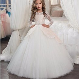Cheap Cute Tutus Australia - Lovely Lace Long Sleeve Flower Girl Dresses 2019 Cute Bow Girl Pageant Ball Gown Cheap Plus Size Girls Wedding Party Dress