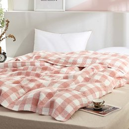 Cotton quilt Coverlet online shopping - Geometric Pattern Throw Blanket Cotton Gauze Thread Blanket Bathroom Towel Coverlet Summer Air conditioned Room Nap Quilt