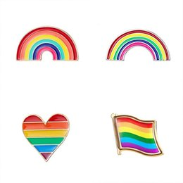 Day flags online shopping - LGBT Design Rainbow Pins Brooch Creative Heart Finger Flag Rainbow Metal Pin Gay Lesbian Pride Badge Lapel Pin Jewelry Gift