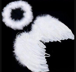Feather For Birthday Party Decoration Australia - Lovely Baby Kids White Feather Angel Wings with Headband for Baby Shower Photo Props Birthday Party Decorations supplies