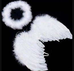 Wholesale Lovely Baby Kids White Feather Angel Wings with Headband for Baby Shower Photo Props Birthday Party Decorations supplies