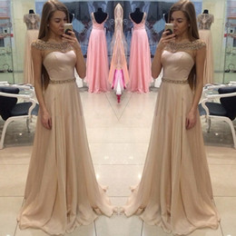 Wholesale Cap Sleeve Apricot Women Occasion Evening Prom Dress A Line Scoop Neckline Sequins Long Party Gowns