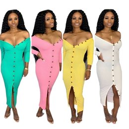 woman dress yellow maxi Canada - Women designer maxi dresses sexy & club long sleeve elegant v-neck Button split solid color sheath column summer fall clothes hot sell 1208