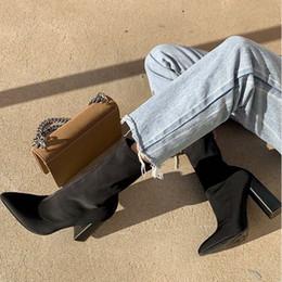 $enCountryForm.capitalKeyWord Australia - 2019 Autumn Fashion Women Black Yarn Elastic Boots Stretch Fabric Ankle Boots Winter Block High Heels Sock Plus Size Shoes