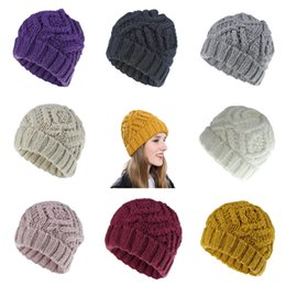 crochet beanie cap pattern Canada - Women Beanie Cap Girl Keep Warm Manual Wool Knitted Earmuffs Soft Hats Thick Warm Bonnet Knitted Beanies Cotton Twist Pattern Caps LE413-Z
