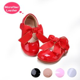 Girls Without Shoes Australia - Pettigirl New Designs Girls Bow Shoes 5 Colors Microfiber Leather Shoes Handmade Children Shoes US Size (Without Shoe Box)