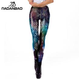 5c410441934c68 NADANBAO Galaxy Mermaid Leggings Women Workout Fitness Legging Colorful Fish  Scales Printed Leggins Plus Size #400061