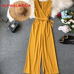 Ladies Casual Rompers Australia - Alphalmoda Spring Ladies Sleeveless Solid Jumpsuits V-neck High Waist Sashes Women Casual Wide Leg Rompers Q190522