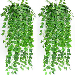fake vines decoration UK - 1Pcs Artificial Fake Hanging Vine Plant Leaves Garland Home Garden Wall Decoration Green Drop Shipping