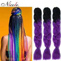 pink kanekalon braiding hair Australia - Nicole Ombre Braiding Hair Soft Kanekalon Jumbo Braid Crochet Hair Pink  Purple  Green  Grey Color 24inch 3PCS Pack Hair Extension For Women