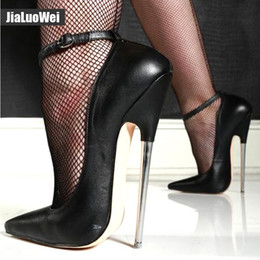$enCountryForm.capitalKeyWord NZ - 18cm Stiletto Fetish Mary Janes Black Ankle Buckle High Heels spike metal heel BONDAGE BDSM Women Pumps pointed toe Man Pole Dancing Shoes