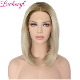 straight blonde wig roots Australia - Fashion Hair Blonde Ombre Lace Front Wig Synthetic Short bob Straight Wigs with Dark Roots for Black Women Heat Resistant Fiber