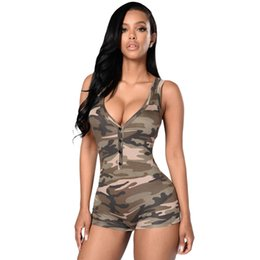 6183bce858 2018 New Sexy Women Camouflage Sleeveless Playsuit Deep V Neck Bodysuit  Shorts Casual Overalls Vest Jumpsuit Rompers Army Green