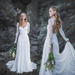 Wholesale bohemian t shirts for for sale – custom Simple Lace Long Sleeves Beach Bohemian Wedding Dresses V Neck Open Back Sexy A Line Formal Gowns for Bride
