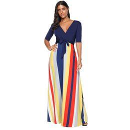 $enCountryForm.capitalKeyWord UK - Hot sale 2019 striped dress women sexy v-neck elegant color block maxi dress vintage bow Casual elegant women long dress summer