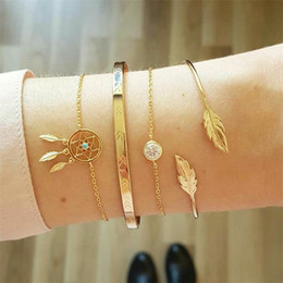 $enCountryForm.capitalKeyWord Australia - 4 Pcs  Set Vintage Dream Catcher Bracelets Boho Leaves Chain Opening Gold Color Bracelet Set Women Fashion Jewelry Drop Shipping