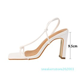party sexy clip UK - Kcenid 2020 Summer women sandals knot design vintage square toe high heels women shoes sandals sexy narrow band clip-on shoes s03