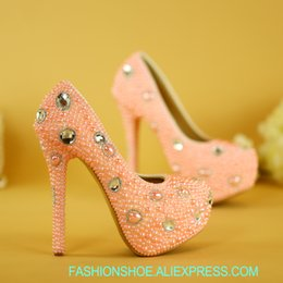 dc54b9454959fe Wedding shoes pink high heels bride shoes wedding dress bridesmaids shoes